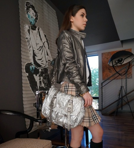 prada silver purse