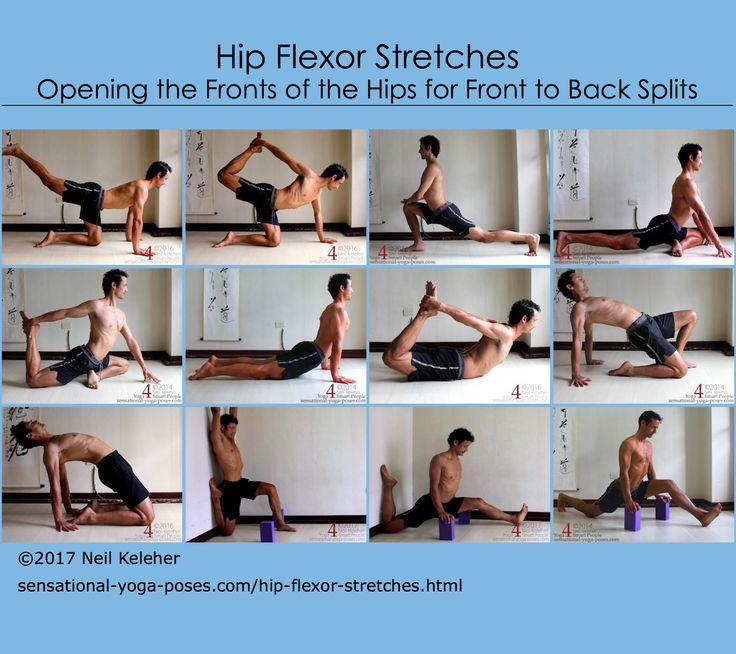 A selection of hip flexor stretches.