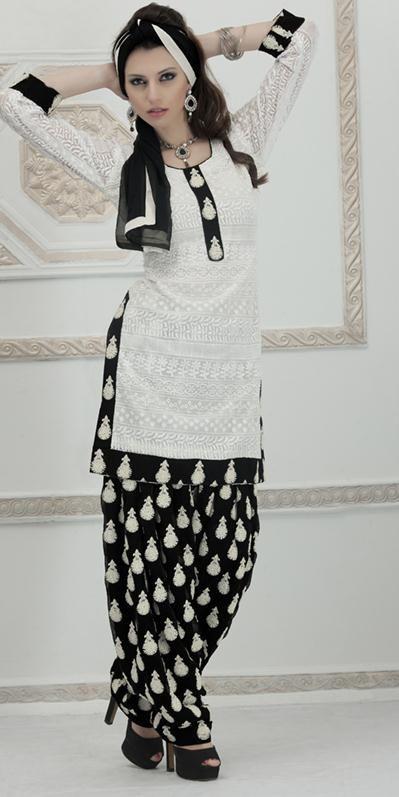 $147.71 White Cotton Embroidered Punjabi Salwar Kameez 23897