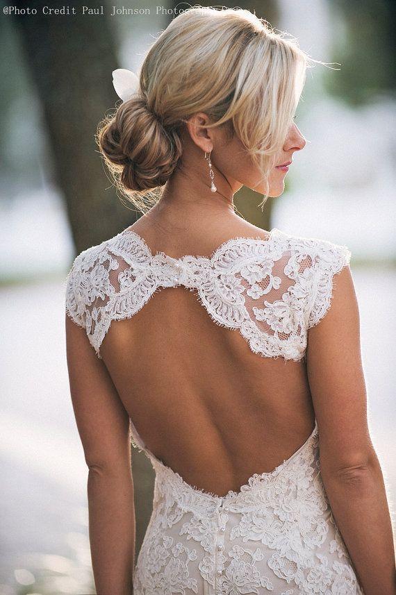 Linea Custom Made A V Backless collo pizzo abiti da sposa, Abito da sposa di pizzo, pizzo abiti da sposa, Abito da sposa, pizzo abiti di cerimonia nuziale, abito di pizzo