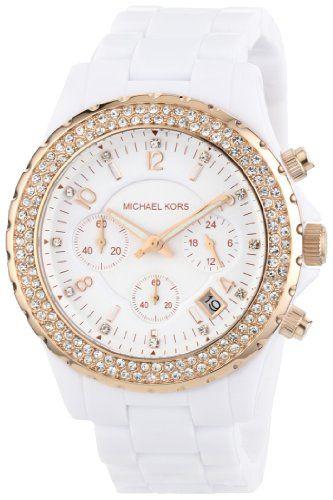Michael Kors Women's MK5379 Glitz Classic Chronograph White Watch