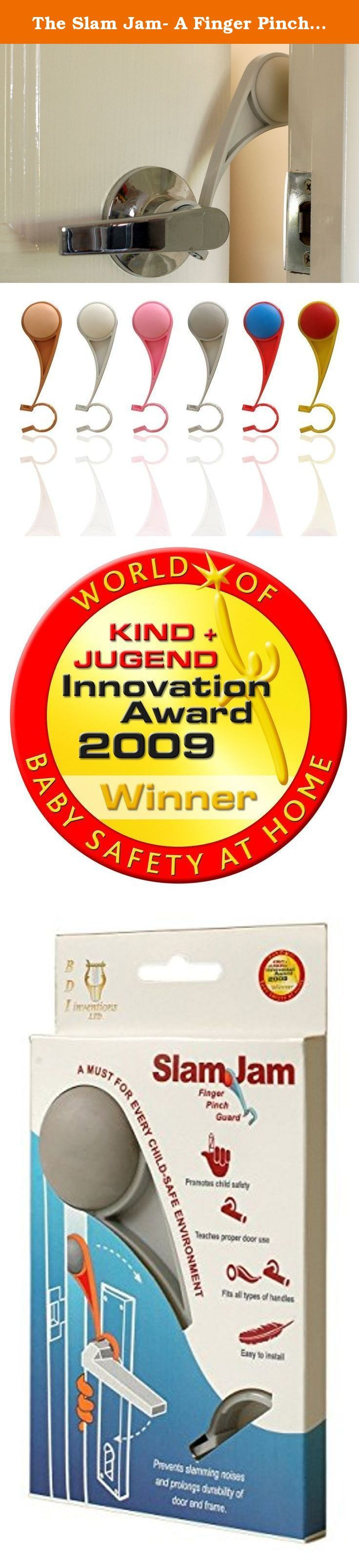 The Slam Jam- A Finger Pinch Guard that Prevents Baby-Children-Adult Fingers Getting Caught in Doors. Winner of the Best Safety At Home Product at the Kind&Jugend Fair, Germany.(Grey). Prevent slamming doors on fingers. When the door opens, the slam jam create a gap between the door and the fram and prevent the door to be slammed on fingers. To allow the door to be closed, rotate the handle of the door. Best Safety at home product in Germany Kind Jugend exhibition.