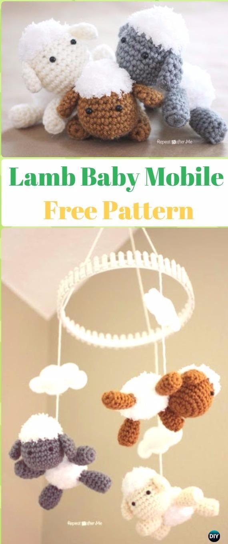 Amigurumi Lamb Baby Mobile Free Pattern - Crochet Sheep Free Patterns