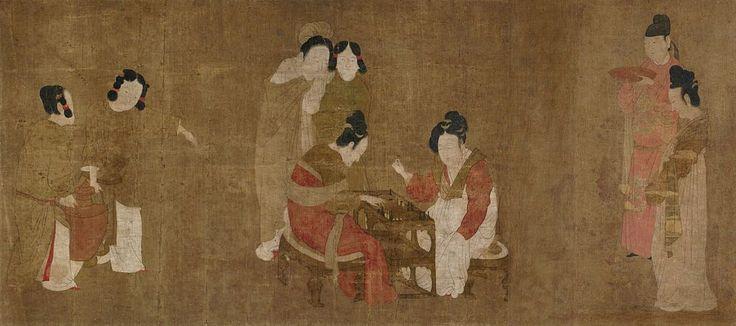 Чжоу Фан. Придворные дамы, играющие в нарды. Сунская копия. Галерея искусства Фрир, Вашингтон