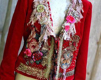 Scarlett jacket - giacca romantico ornato, fascino bohemien, alterato couture, ricamati e dettagli di perline