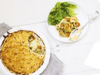 Hemsley and Hemsley share their chicken pot pie recipe with cauliflower mash. Perfect for those chilly evenings.