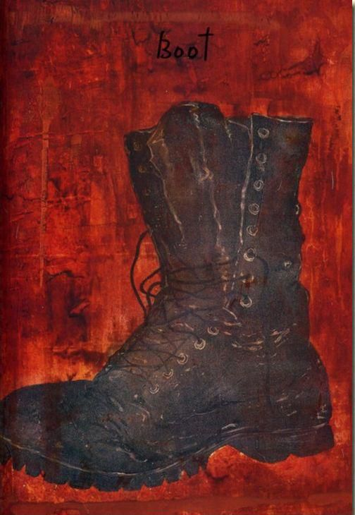 """Boot  """"My boot is like an old girlfriend. We are always together and we lived so many things together! I just wanted to give her an homage for its loyalty and being there."""" --Johnny Depp"""