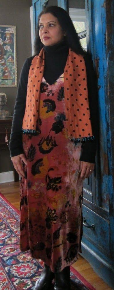 Velvet: Zara velvet dress with Uniqlo fleece turtleneck, viscose scarf and Clarks ankle boots - 2017