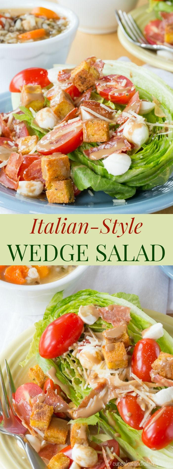 Italian-Style Wedge Salad - a simple twist on the the classic wedge salad recipe with crispy prosciutto, mozzarella, tomatoes, and creamy balsamic dressing, plus gluten free polenta croutons. Pair with @progresso to #SoupYourWay