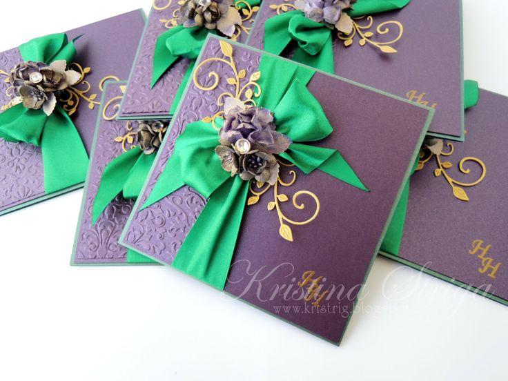 Мастерская Кристины Стриги: Фиолетово-изумрудная свадьба. Пригласительные