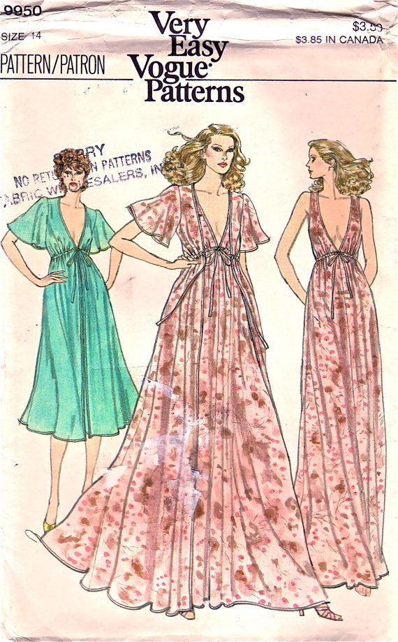 1980s Vogue 9950  Misses  Sexy Nightgown Negligee Peignoir  Robe Plunging V Neck Flutter Sleeves womens vintage honeymoon sewing pattern by mbchills