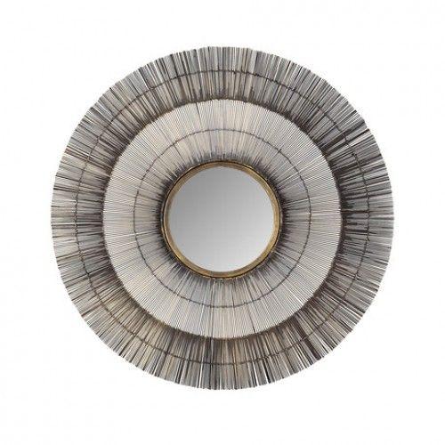 Metal Wire Bristle Brush Round Wall Mirror
