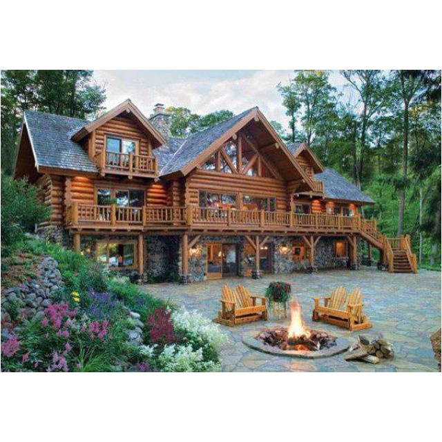 Stone wood mansion fire pit windows houses i want but Build my dream house