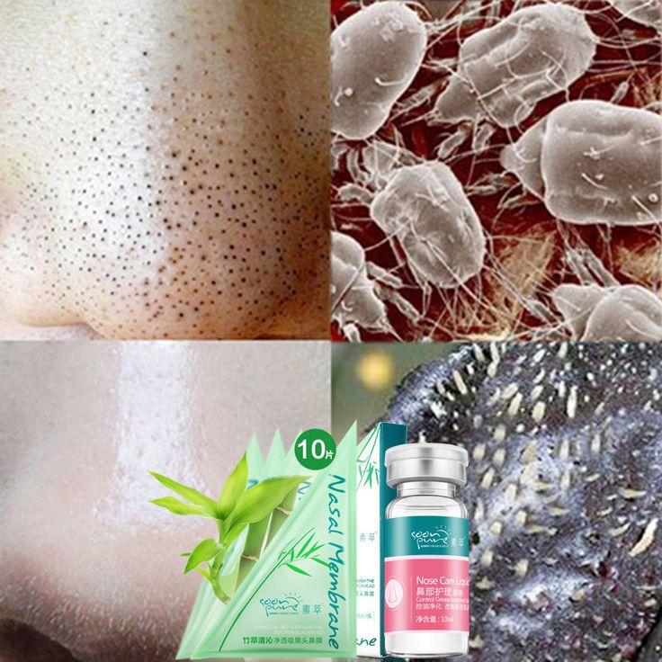 SOON PURE Nose Blackhead Remover Face Black Mask+Serum Essence Skin Care Peeling Acne Treatment Deep Cleansing Pore Strip 11pcs