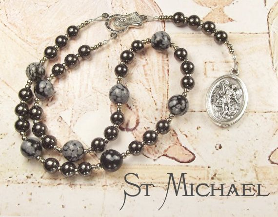 St MICHAEL CHAPLET with Haematite and Snowflake Obsidian beads and St Michael Medal