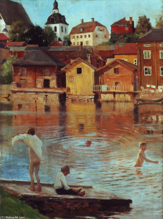 "boy wading lake | Boys Swimming in the Porvoo River"", Oil by Albert Edelfelt (1854-1905 ..."