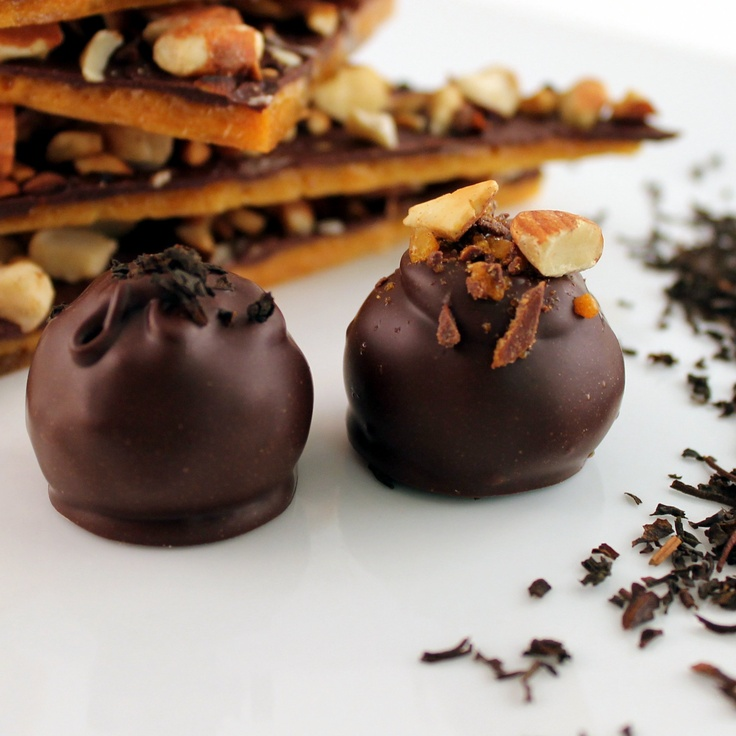 ... Features Earl Grey and English Toffee premium dark chocolate truffles