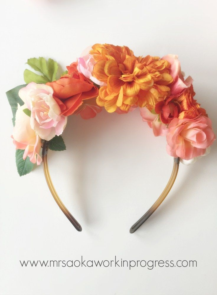 Headband with brightly coloured artificial flowers and strands of beads Inspired by Frida Kahlo.