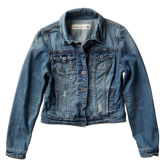 Just Jeans   Distressed Denim Jacket in Mid Blue   $89.99