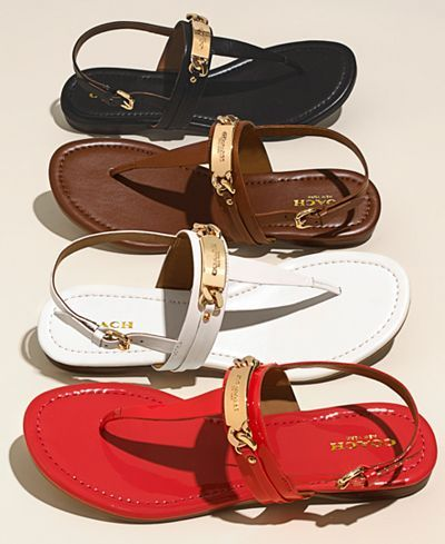 COACH Caterine Logo Hardware Flat Sandals - All Women's Shoes - Shoes - Macy's