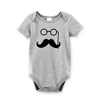 Cuddle Bear® Baby Boys' Heather Grey Mustache Bodysuit at www.bonton.com