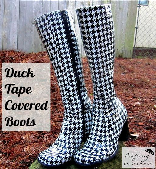 Houndstooth Boots with Duck Tape via Crafting in the Rain