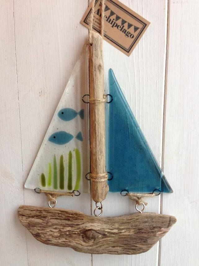 Fused glass and driftwood lightcatcher boat - Fish Tank £22.00
