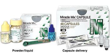 Miracle Mix by GC America Exceptionally durable metal-reinforced #glass #ionomer #crown and core build-up material. Chemically bonds to #tooth structure and metal pins and posts; eliminates the need for crown forms, matrices, or undercuts. High fluoride release. Radiopaque.