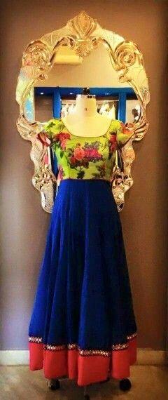 Green floral blue  anarkali dress