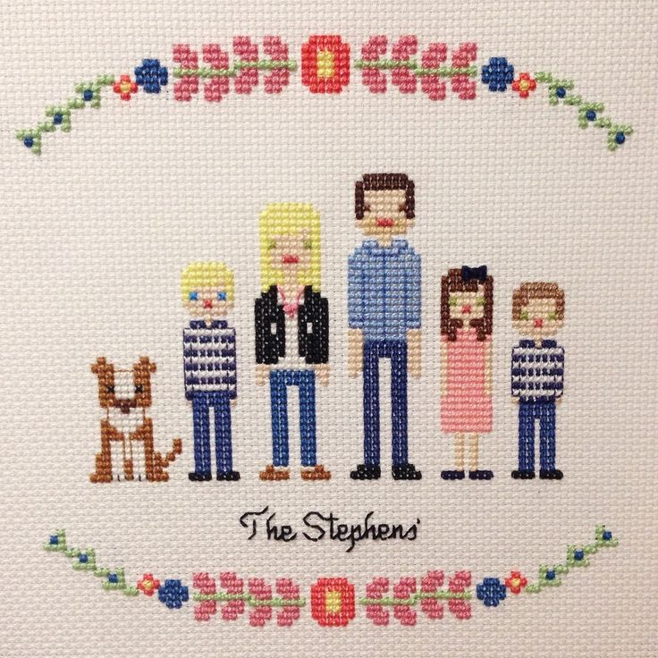 Image of Custom Cross Stitch Family Portrait Pattern