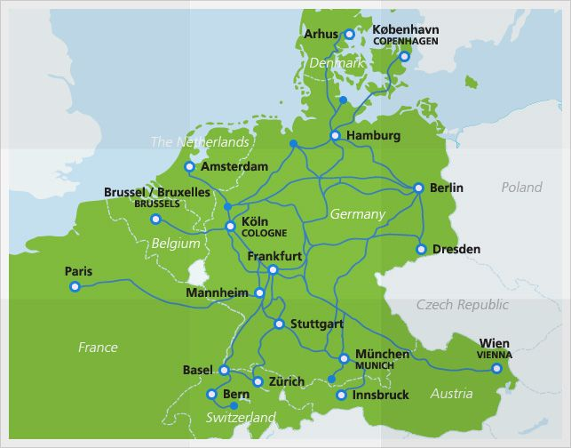 Map with ICE routes -- The ICE (InterCity Express) is a high-speed train that connects all major cities in Germany. With speeds up to 300km/h, this is one of the fastest ways to travel between cities such as Berlin, Hamburg and Cologne. The ICE has international connections to Denmark, the Netherlands, Belgium, France, Switzerland and Austria.