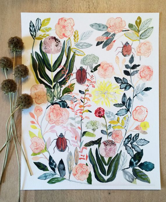 Old English Roses and Japanese Beetles Archival Print
