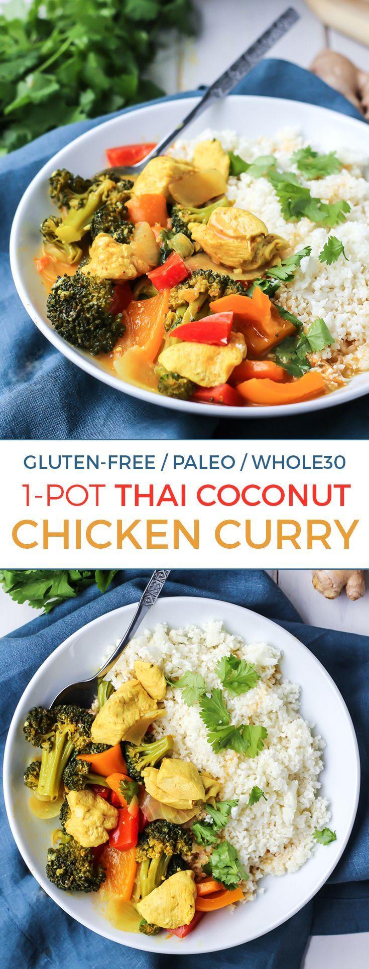 1-Pot Thai Coconut Chicken Curry [ Paleo, Whole30 ]