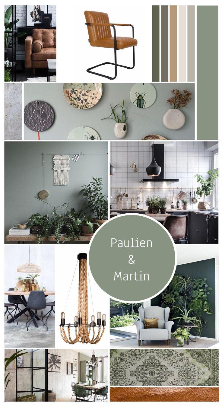 Project Utrecht, een interieuradvies voor woonkamer en eetkamer #woonkamer #keuken #eetkamer #groen #zwartwit #industrieel #hout #stoer #natuurlijkematerialen