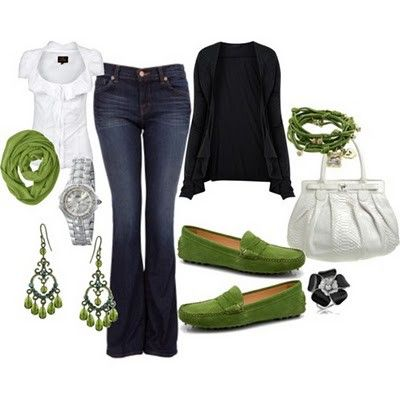 this is cute!: Green Shoes, Casual Style, Dreams Closet, Color Combos, Green Accent, White Shirts, Pop Of Color, Fall Outfit, Spring Outfit