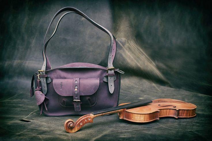 torebka skórzana ręcznie robiona mała śliwkowa lad - ladybuqartstudio - Torebki damskie