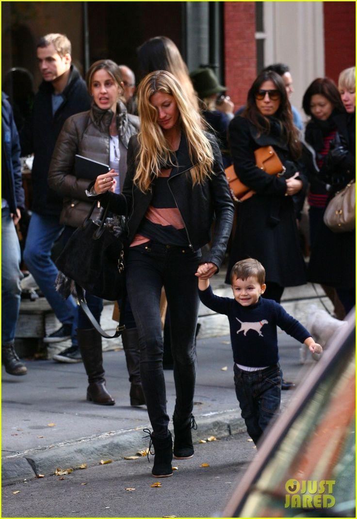 Gisele Bündchen and little Benjamin Brady, New York
