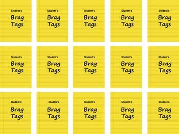 MiMi Sue's Brag Tags FREEBIE Bright Yellow (Student Name) SWAG