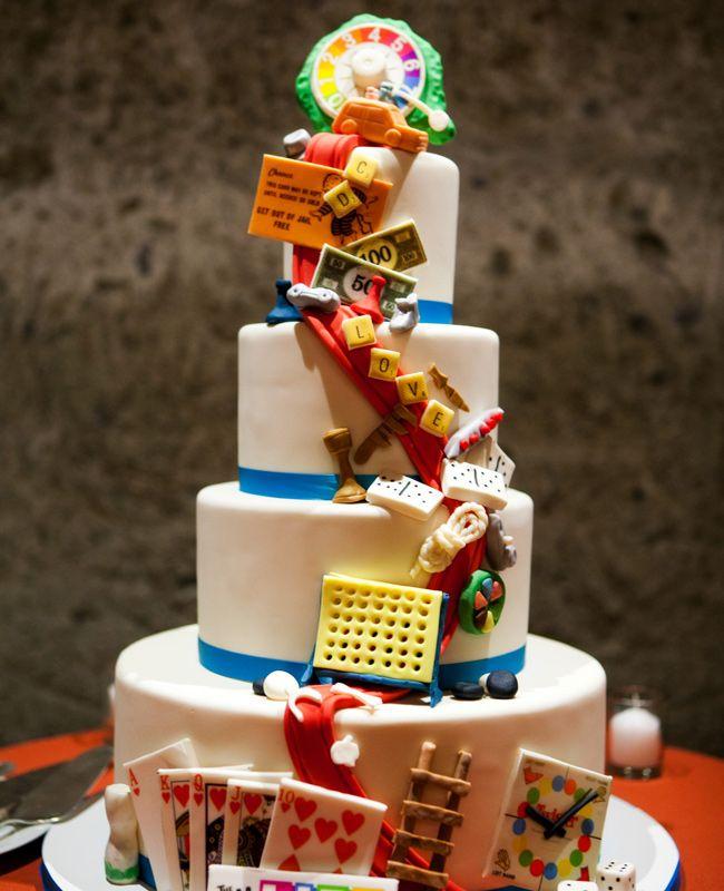 A Board Game-Inspired Cascade Cake | Adeline & Grace Weddings | Blog.TheKnot.com