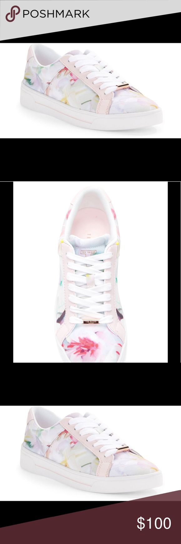 """Ted Baker London Eyewo Floral Lace-Up Sneakers Trendsetting trainers hit the pavement in a fresh flowery motif with metallic hardware accents Rubber platform, 1"""" Textile upper Round toe Lace-up style Textile insole Imported Ted Baker Shoes Athletic Shoes"""