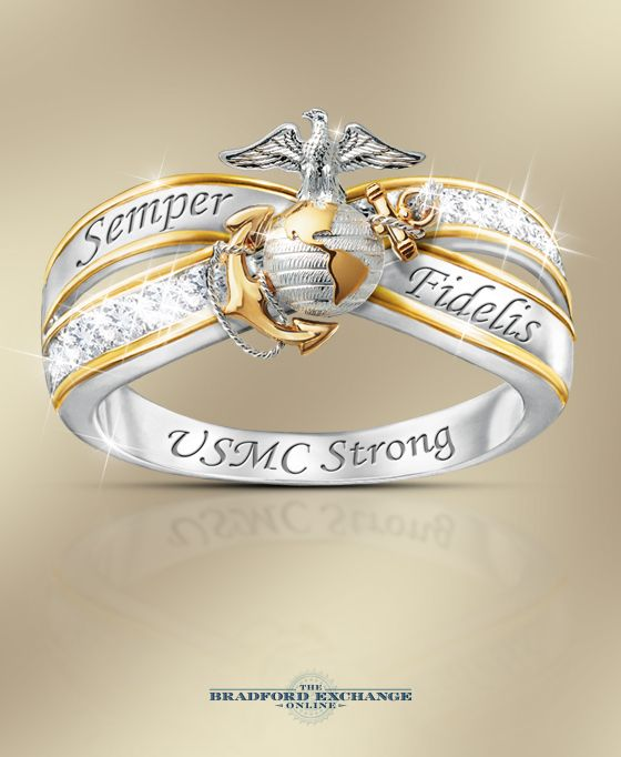 Are you USMC strong? This stirring women's ring salutes your Marine Corps loyalty with a sculpted Eagle, Globe and Anchor emblem and 10 genuine white topaz gems. Plus, it's backed by the best guarantee in the business, with returns up to 120 days and free return shipping.