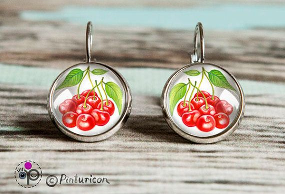 Cherries Earrings Glass Cabochon Earrings Dangle by Pinturicon