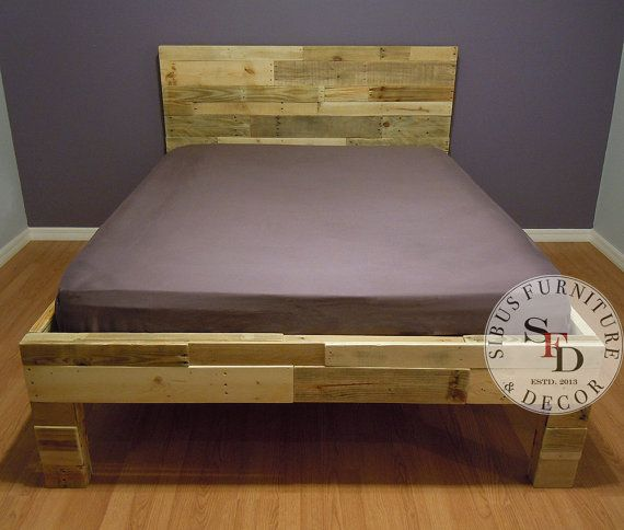 Queen Bed Frame  Pallet Bed  Reclaimed Wood Bed by SibusFurniture