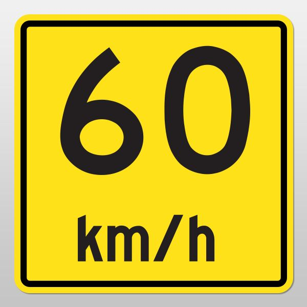 ADVISORY SPEED Tab Sign