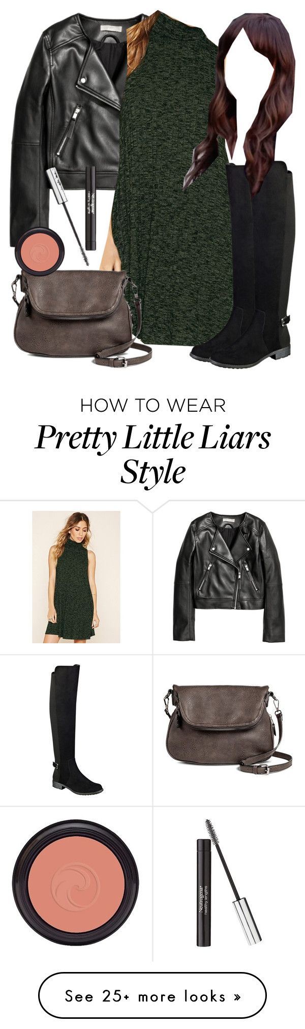 """Spencer Hastings inspired outfit with a leather jacket"" by liarsstyle on Polyvore featuring Forever 21, Liz Claiborne, Moda Luxe, Neutrogena, date, weekend, college and WF"