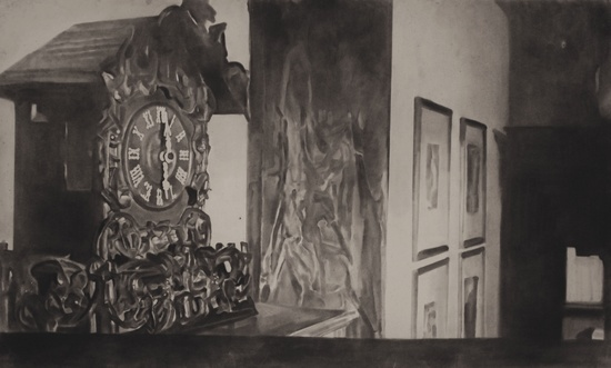 'The Clock' 2012, Charcoal on paper, 36 x 60 inches, 91 x 152 cm
