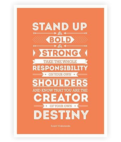 """Lab No. 4 Stand up, be bold, be strong Motivational inspirational Typography in A2 (16.53"""" x 23.39"""") #Motivational #Quotes"""