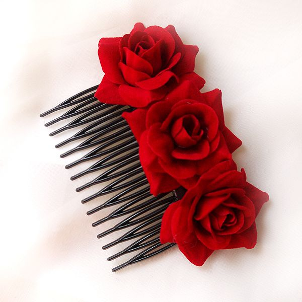 Романтический свежий ткани 3 красная роза ручной hairwear волосы комбс мода волос украшения