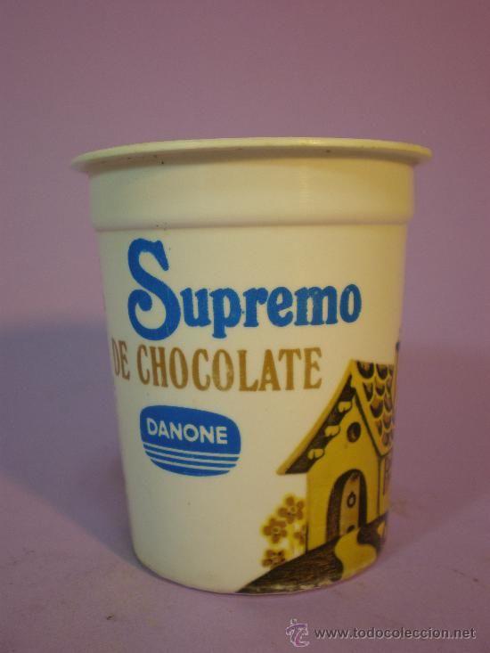 """ANTIGUO ENVASE YOGUR *DANONE* SUPREMO CHOCOLATE  """"De chocolate, de caramelo, nos alimenta y está muy bueno"""""""