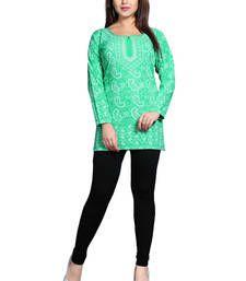 Buy Green american crepe printed kurti short-kurti online